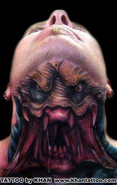 Preditor neck tattoo...FUCKING INSAINE!
