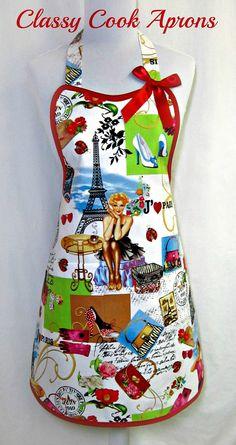 Apron I Love PARIS, Retro Red GIRLY Parisian Mademoiselle, by ClassyCookAprons, $36.50