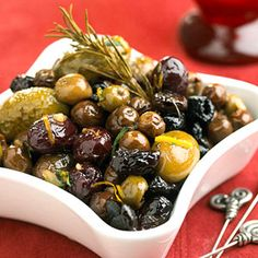 Herb-Baked Olives Make these rosemary-marinated olive appetizers up to 1 week in advance of your Thanksgiving gathering.