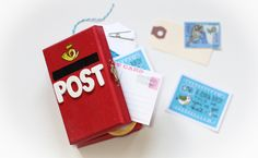 Today I have a little DIY project I want to share with you! it's a mini postbox box! Writing Pens, Letter Writing, Cute Stationery, Stationary, Envelope Art, Art Activities For Kids, Post Box, Pocket Letters, Happy Mail