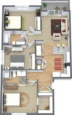 Explore the best new residential architecture, ranging from large developments to small extensions, skinny houses and penthouse apartments. Sims House Plans, House Layout Plans, Bungalow House Plans, Bungalow House Design, Dream House Plans, House Layouts, House Floor Plans, House Floor Design, Sims House Design