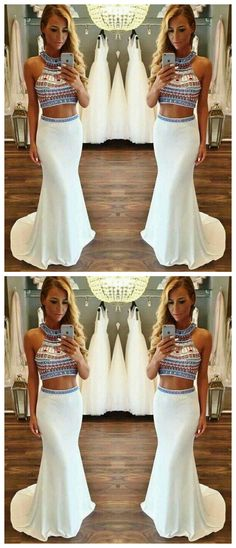 Hot Sale Charming Two Pieces Beading Mermaid Evening Dress Chiffon 2 Pieces Formal Dress Classy Homecoming Dress, Classy Prom Dresses, Homecoming Dresses, Sexy Dresses, Fashion Dresses, Wedding Dresses, Party Dresses, Chiffon Evening Dresses, Mermaid Evening Dresses