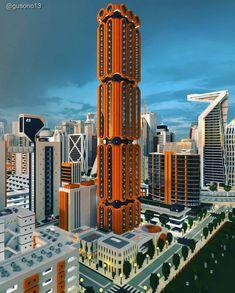 The Burra Building, Ono City, Minecraft Minecraft City, Minecraft Architecture, Burj Khalifa, Multi Story Building, Travel, Viajes, Destinations, Traveling, Trips
