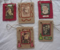 Rustic Handmade Burlap Christmas Santa Ornaments - Set of Five. Red and Natural Burlap, Glitter, Vintage Santas.  Free Shipping in U.S.. $12.50, via Etsy.