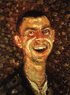 Richard Gerstl. Autorretrato riendo. 1905. (1883 – 1908), pintor expresionista austriaco que con tan solo 25 años optó por ahorcarse en su estudio
