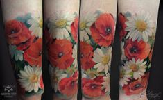 Watercolor Daisy Tattoos | Poppies and daisies by Olggah on DeviantArt