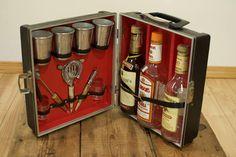 Vintage 1960s Black Travel Bar US Luggage Portable Bar Retro Barware Mixology Bartender Tools Mad Men MCM Home Barware Gift for Him by VintageFlicker