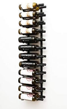 Amazon.com: VintageView Wall Series (4 Ft) - 24 Bottle Metal Wall Mounted Wine Rack (Satin Black) Stylish Modern Wine Storage with Label Forward Design: Kitchen & Dining Tall Wine Rack, Wine Rack Wall, Wine Wall, Big Bottle, Bottle Wall, Wine Racks America, Modular Walls, Wine Collection, Rack Design