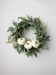Fall Farmhouse Wreath - White Pumpkin Front Door Wreath - Greenery Wreath - Eucalyptus Wreath - Faux Wreath - Autumn Decor by LorrainesCottage on Etsy https://www.etsy.com/listing/554958605/fall-farmhouse-wreath-white-pumpkin