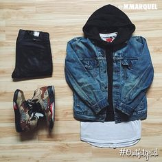 Todays's top #outfitgrid is by @mmarquel ▫️#Levis #DenimJacket ▫️#AlexanderWang #Hoodie ▫️#Killionest #flatlay #flatlayapp #flatlays