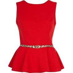 River Island Red leopard print belted peplum top ($38) ❤ liked on Polyvore