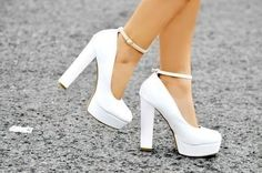 ImageFind images and videos about white, shoes and heels on We Heart It - the app to get lost in what you love. Fancy Shoes, Pretty Shoes, Cute Shoes, White Wedding Shoes, Wedding Heels, Cute High Heels, Prom Heels, White Heels, Shoes Heels Wedges