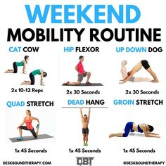 Quick and easy weekend mobility routine to kick start your weekend! Experiment with the recommended sets/time for each stretch and modify accordingly by listening to your body and what feels the best! These exercises promote flexibility coordination and Weekend Workout, Hard Workout, Tips Fitness, Fitness Motivation, Hiit, Biceps, Pilates, Warm Up Stretches, Quad Stretch