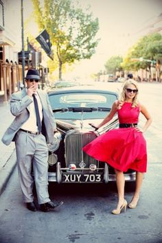 Vintage | Mad Men inspired engagement session | Liv by Design Bride & Groom | Christina Carroll Photography