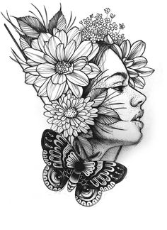 A girl with flowers on her head Girl Drawing Sketches, Doodle Art Drawing, Dark Art Drawings, Tattoo Design Drawings, Flower Sketches, Pencil Art Drawings, Mandala Art Lesson, Art Sketchbook, Tattos