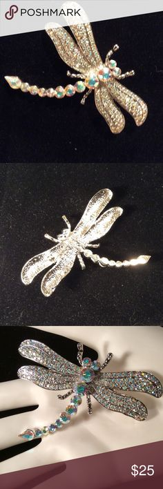 """Park lane Dragonfly Brooch EXQUISITE describes this dragonfly it is beautifully inlaid with Austrian crystals radiating displays of many colors that dazzle in the light. Measures 3"""" both ways. Wear on a hat, scarf or coat...be creative. I've seen a dragonfly pin on the back of bridal veil with clear crystal jewelry..STUNNING! NWOT parklane Jewelry Brooches"""