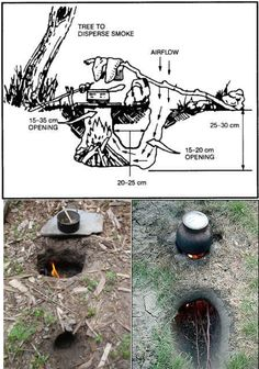 camp survival For those who were confused by the drawing, here are some real-life example of Dakota fire-hole. The Dakota fire hole saves wood, burns hot and is ideal for cooking. Source here, here and. Survival Life Hacks, Survival Food, Homestead Survival, Wilderness Survival, Camping Survival, Outdoor Survival, Survival Prepping, Survival Skills, Emergency Preparedness