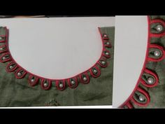 Very beautiful and creative boat neck design with loops and pearl - Kurta neck design - Chudithar Neck Designs, Salwar Neck Designs, Churidar Designs, Kurta Neck Design, Neck Designs For Suits, Sleeves Designs For Dresses, Neckline Designs, Fancy Blouse Designs, Blouse Neck Designs