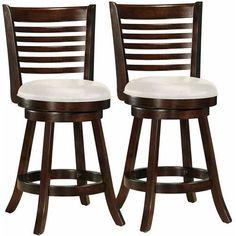 "Woodgrove 5-Bar Design 38"" Barstool with Leatherette Seat, Set of 2"