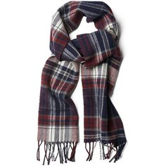 Gant Check Lambswool Scarf - Purple Fig ($71) ❤ liked on Polyvore featuring accessories, scarves, multi, checkered scarves, purple shawl, gant and purple scarves