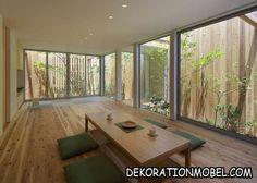 Essplatz Wohnzimmer japanischer Stil Holzzaun