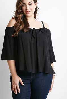 Self-Tie Open-Shoulder Top | Forever 21 PLUS - 2000079813