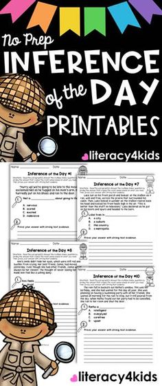 Inference of the Day No Prep Printables for Grades 3-5