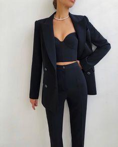 Glamouröse Outfits, Cute Casual Outfits, Stylish Outfits, Fashion Outfits, Elegantes Business Outfit, Elegantes Outfit, Suit Fashion, Look Fashion, Korean Fashion