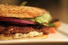 Lamb Sliders with Ginger Cilantro Aoli: large sweet potato slices as burger buns | Everyday Paleo