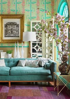 Turquoise, Gold and Pink Flowers Living Room   Picsdecor.com  Love this combo!