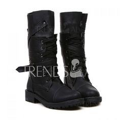 $18.97 Fashion Buckle and Lace-Up Design Women's Mid-Calf Boots