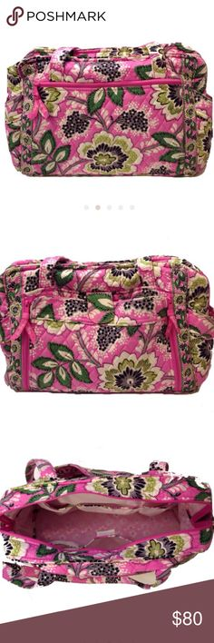 Vera Bradley Priscilla Pink Diaper Bag Vera Bradley Priscilla Pink Diaper Bag. 12x16. The exterior zip down pocket reveals a roll out changing pad and 2 elastic slip pockets. The detachable pad is not included. Roomy interior w/ 6 pockets. Zippered front pocket & two side bottle pockets. Again, detachable changing pad is not included. I have lowered the price to reflect the missing pad and there is some wear on the bottom outside corners. That is the only imperfection on the bag. Please see…