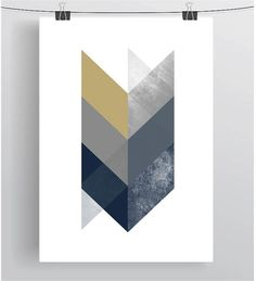 Navy & Mustard Print Scandinavian Design Navy Decor Mustard Decor Chevron Wall…