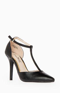 Pointed Toe T-Strap Heels in Black 5 - 10 | DAILYLOOK