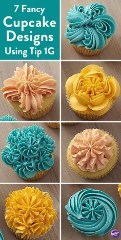 7 Easy Ways to Decorate Cupcakes Using Tip - Create 7 fancy cupcake designs using just a single tip! Here a drop flower Wilton Tip and three vibrant colors of icing create seven impressive cupcake designs perfect for any occasion. Cupcakes Design, Fancy Cupcakes, Decorate Cupcakes, Flower Cupcakes, Cupcake Icing Designs, Cupcake Icing Tips, Icing Cupcakes, Mocha Cupcakes, Gourmet Cupcakes