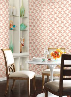 Waverly Classics, Red and White Hampton Trellis Wallpaper Trellis Wallpaper, Of Wallpaper, Pattern Wallpaper, Wallpaper Manufacturers, Classic Wallpaper, Master Room, Kitchen Interior, Girls Bedroom, The Hamptons