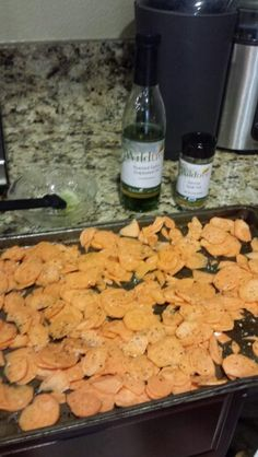 Sweet potatoes coated with Wildtree garlic grapeseed oil and sprinkled with Wildtree Ranchers Steak Rub