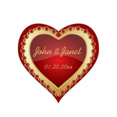 Elegant Love Shiny Deep #Red #Gold #Jewel #Heart #Stickers #zazzlebesties #zazzle #gifts #shopping