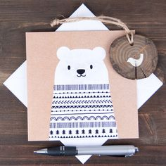 Big bear Christmas card kraft effect monochrome by ClothKat
