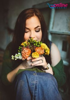27 Exceptional - Awesome Fashion And HairStyle Ideas : Exalted woman wearing blue denim skirt holding flowers Hormonal Imbalance Causes, Female Hormone Imbalance, Holding Flowers, Birth Flowers, Buy Flowers, Flowers Online, Marketing Sensorial, Flower Chart, Optimism