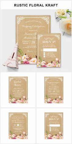 Invitation Suite: Classy Rustic Floral Kraft Wedding Invitations Kraft Wedding Invitations, Retirement Party Invitations, Wedding Menu Template, Reception Invitations, Wedding Envelopes, Wedding Rsvp, Wedding Invitation Sets, Invitation Suite, Wedding Cards