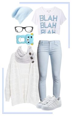 """""""Pale Blue and White Casual Wear"""" by minyxxngi ❤ liked on Polyvore featuring Violeta by Mango, dELiA*s, 7 For All Mankind, Free People, Ray-Ban and adidas Originals"""