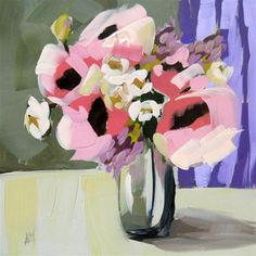 """flowers for the table"" - Original Fine Art for Sale - © Angela Moulton"
