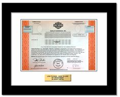 We specialize in Harley-Davidson stock gifts. Real one share ownership in a company they love plus the framed Harley-Davidson stock certificate. Harley Davidson Stock, Harley Davidson Bikes, Choppers, American Motorcycles, Motorcycle Manufacturers, Custom Paint Jobs, Biker Chick, Bike Life, Memorable Gifts