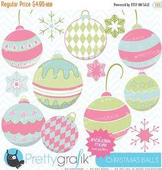 80% OFF SALE christmas balls clipart commercial use, vector graphics, digital clip art, digital images - CL436
