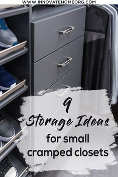 Learn 9 proven storage ideas to fix your small, cramped closet. For a Free custom (or standard) closet or wardrobe design call Innovate Home Org at or in Cleveland at Small Closet Storage, Small Bedroom Storage, Small Room Bedroom, Storage Shelves, Storage Ideas, Shelving, Small Bedrooms, Clothes Organisation Ideas, Best Closet Organization