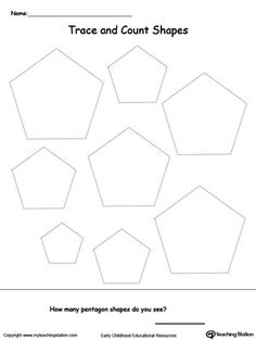 Trace and Count Pentagon Shapes: Practice shape recognition or teach your child about the different kinds of shapes with this shape printable activity worksheet. Shapes Worksheets, Tracing Worksheets, Preschool Worksheets, Preschool Activities, Preschool Shapes, Pentagon Shape, Shapes For Kids, Shape Crafts, Shape Art