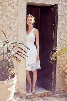 Anthropologie Lila Eyelet Dress. Oh goodness, I might have just found it. Making a trip past Anthro tomorrow!!