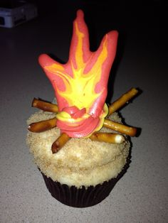 Camp fire cupcakes for camping theme party made by Sassy Sweets