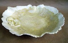 Yellow Lace  Ceramic Bowl hand built pottery by dgordon on Etsy, $60.00